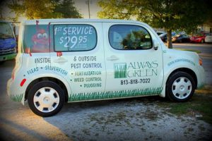 Always Green truck providing lawn care services