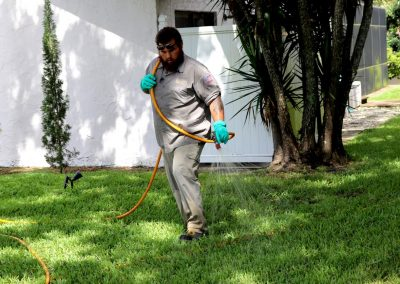 always green technician delivering a lawn care treatmernt