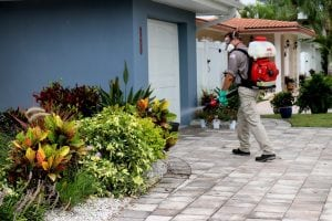 technician delivering mosquito control service around the home