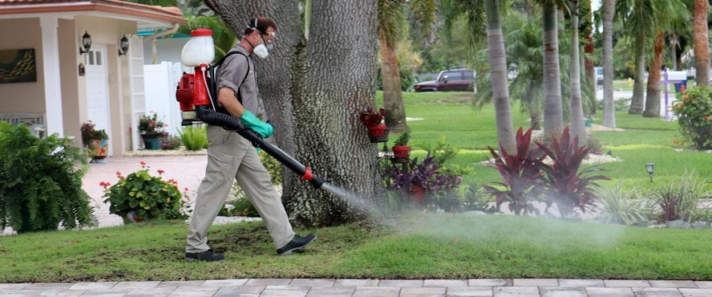 always green technician performing an outside pest control treatment