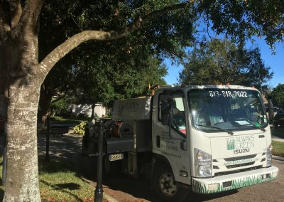 Always Gereen Truck arives at customer house for lawn care