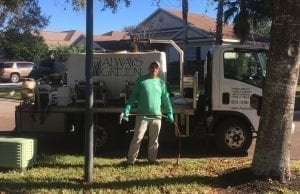 Always Green technician providing lawn care for fertilization & disease control