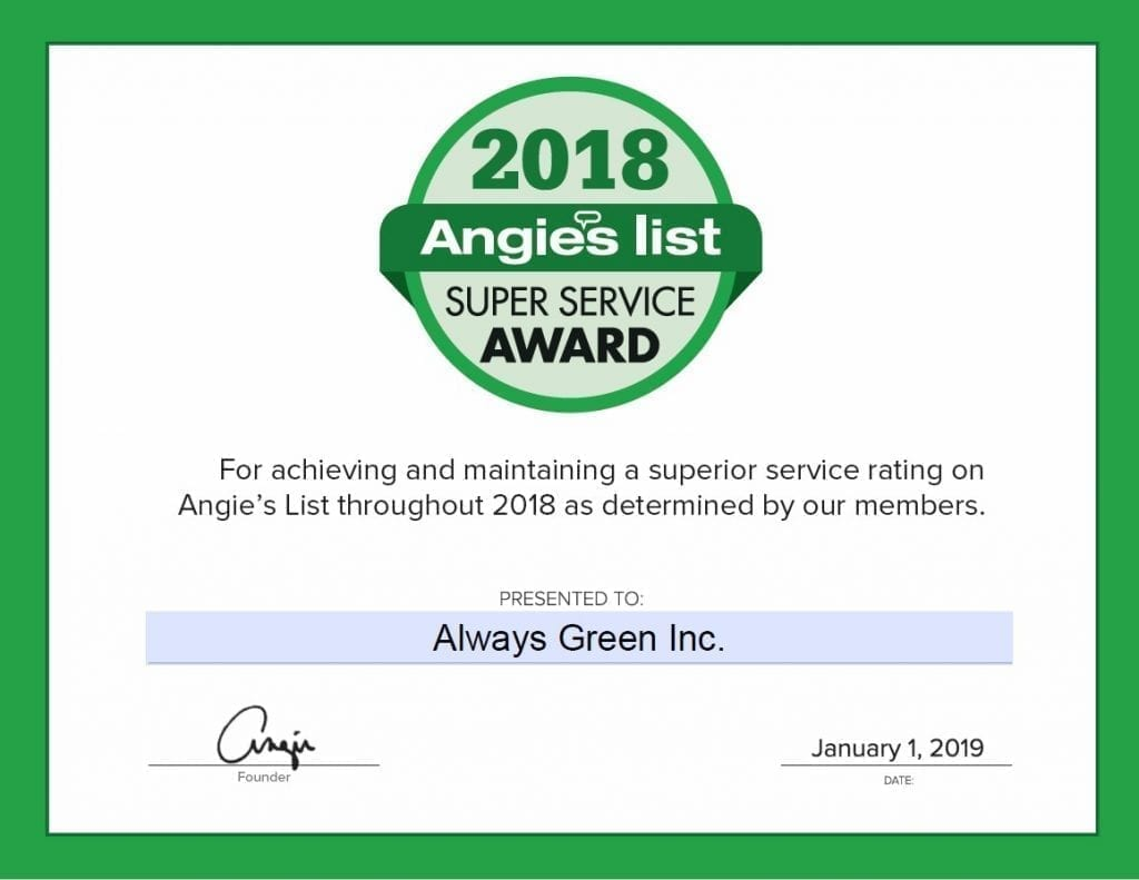 angies list super service awarded to always green
