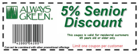 Always Green 5-percent Discount Coupon for Seniors